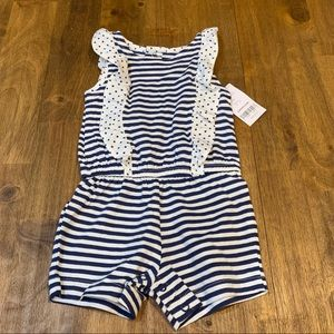 New Carters Striped & Ruffle Romper Navy & White